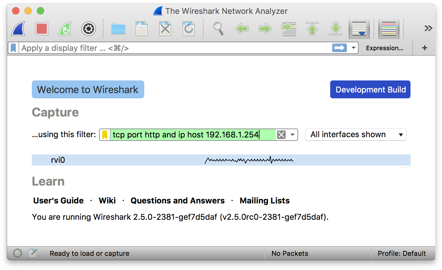 WireShark sniffing iOS traffic